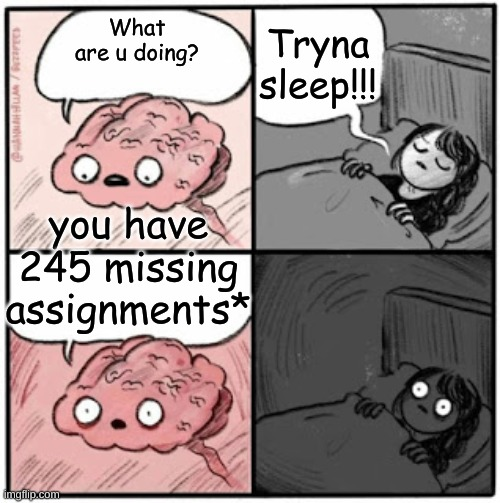 I stg it be like that |  Tryna sleep!!! What are u doing? you have 245 missing assignments* | image tagged in brain before sleep | made w/ Imgflip meme maker