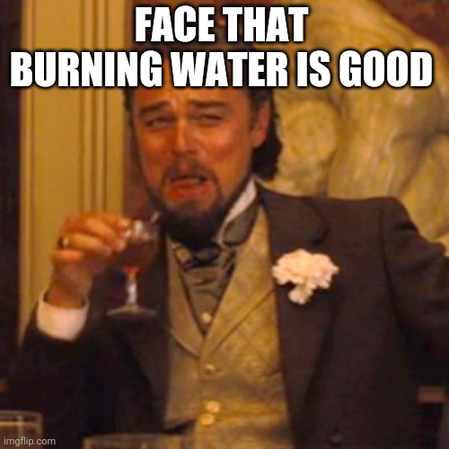 Laughing Leo Meme |  FACE THAT BURNING WATER IS GOOD | image tagged in memes,laughing leo | made w/ Imgflip meme maker