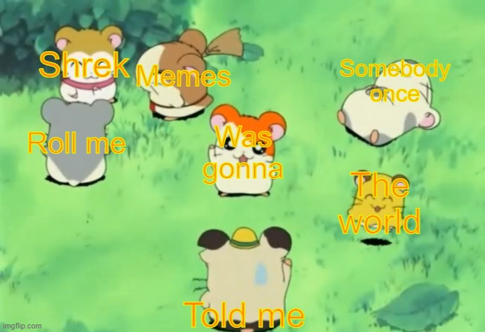 Hamtaro and the Gang |  Shrek; Memes; Somebody once; Roll me; Was gonna; The world; Told me | image tagged in hamtaro and the gang,all star,shrek,hamtaro,anime,tms | made w/ Imgflip meme maker