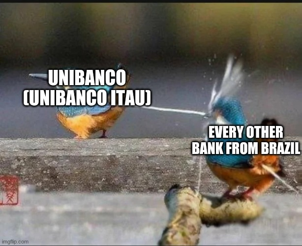 Itau Unibanco is way better than every other bank from Brazil |  UNIBANCO (UNIBANCO ITAU); EVERY OTHER BANK FROM BRAZIL | image tagged in memes,birds,pooping,itau,unibanco,brazil | made w/ Imgflip meme maker