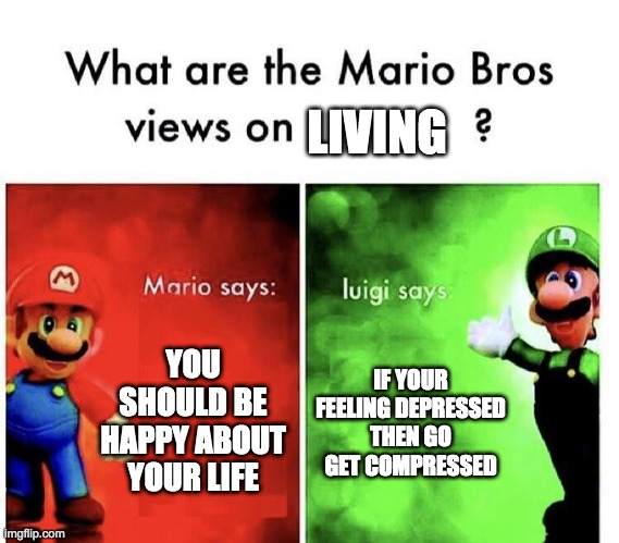 dont do this listen tomario |  LIVING; YOU SHOULD BE HAPPY ABOUT YOUR LIFE; IF YOUR FEELING DEPRESSED THEN GO GET COMPRESSED | image tagged in mario bros views | made w/ Imgflip meme maker