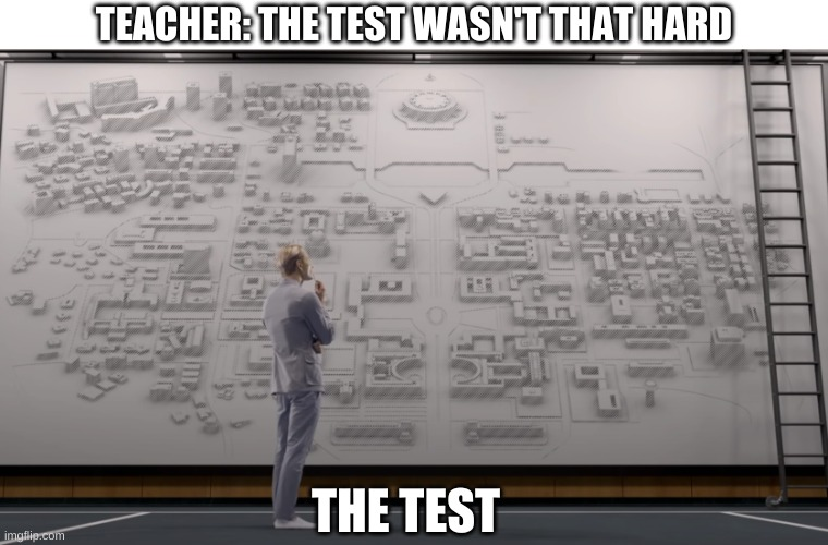meme test |  TEACHER: THE TEST WASN'T THAT HARD; THE TEST | image tagged in test,school,teachers,david 8 | made w/ Imgflip meme maker