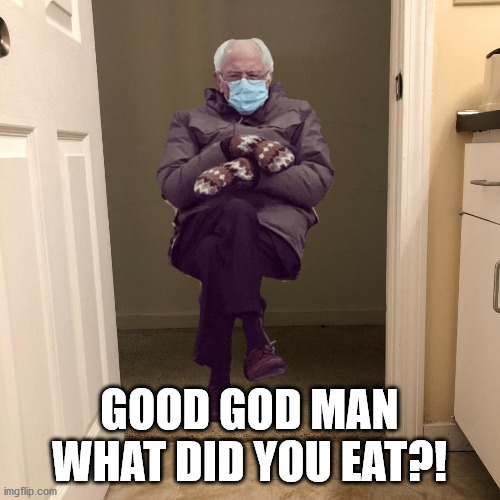 Bernie Sanders |  GOOD GOD MAN WHAT DID YOU EAT?! | image tagged in bernie sanders,funny,meme,good god,bathroom,humor | made w/ Imgflip meme maker