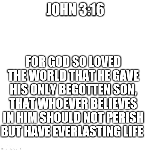 Blank Transparent Square |  JOHN 3:16; FOR GOD SO LOVED THE WORLD THAT HE GAVE HIS ONLY BEGOTTEN SON, THAT WHOEVER BELIEVES IN HIM SHOULD NOT PERISH BUT HAVE EVERLASTING LIFE | image tagged in memes,blank transparent square | made w/ Imgflip meme maker
