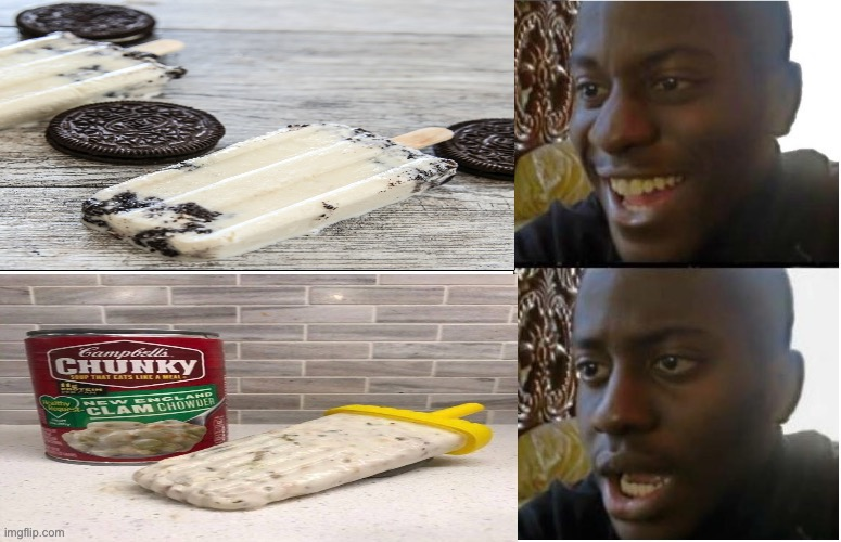 Clam chowder popsicles | image tagged in disappointed black guy,gross,yummy,ice cream | made w/ Imgflip meme maker
