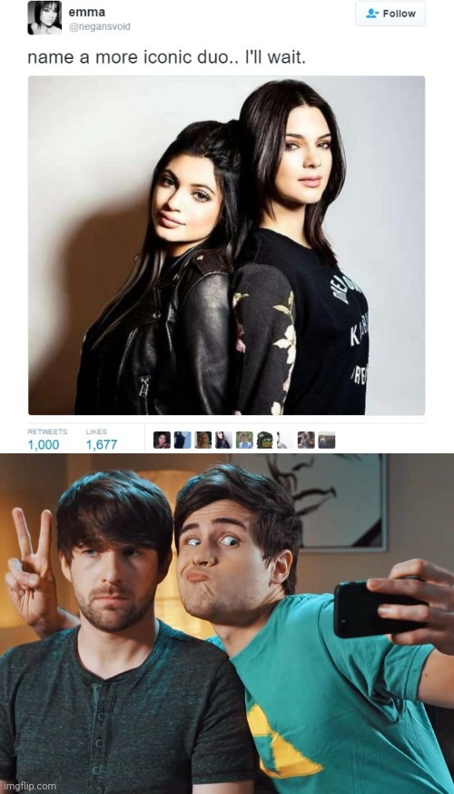 That's probably the most iconic duo in YouTube hist- SHUT UP! | image tagged in name a more iconic duo,memes,fun,youtube,smosh,meme | made w/ Imgflip meme maker