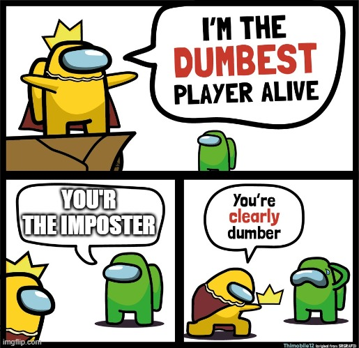 Among Us dumbest player |  YOU'R THE IMPOSTER | image tagged in among us dumbest player | made w/ Imgflip meme maker