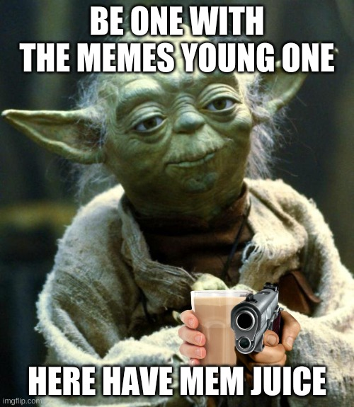 Star Wars Yoda Meme |  BE ONE WITH THE MEMES YOUNG ONE; HERE HAVE MEM JUICE | image tagged in memes,star wars yoda | made w/ Imgflip meme maker