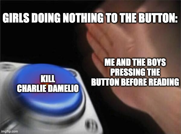 Blank Nut Button Meme |  GIRLS DOING NOTHING TO THE BUTTON:; ME AND THE BOYS PRESSING THE BUTTON BEFORE READING; KILL CHARLIE DAMELIO | image tagged in memes,blank nut button | made w/ Imgflip meme maker