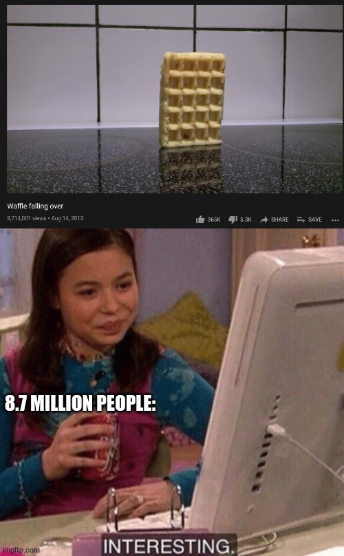 8.7 MILLION PEOPLE: | image tagged in icarly interesting | made w/ Imgflip meme maker