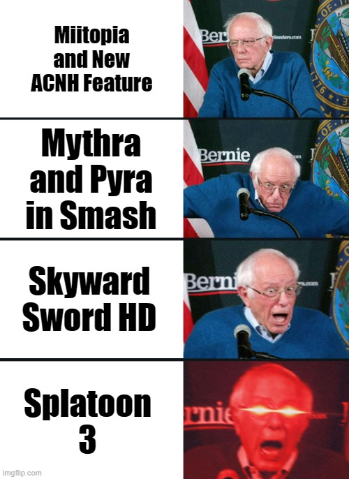 nintendo direct in a nutshell |  Miitopia and New ACNH Feature; Mythra and Pyra in Smash; Skyward Sword HD; Splatoon 3 | image tagged in bernie sanders reaction nuked,nintendo direct,nintendo,splatoon 3,super smash bros ultimate,animal crossing | made w/ Imgflip meme maker