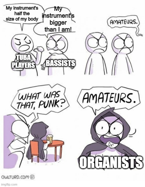 Organs trump all XD |  My instrument's half the size of my body; My instrument's bigger than I am! TUBA PLAYERS; BASSISTS; ORGANISTS | image tagged in amateurs,music,organ,musician jokes | made w/ Imgflip meme maker