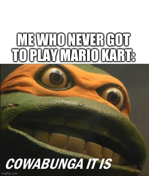 Cowabunga It Is | ME WHO NEVER GOT TO PLAY MARIO KART: | image tagged in cowabunga it is | made w/ Imgflip meme maker