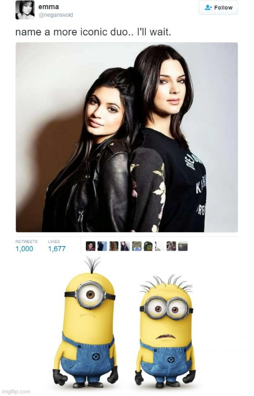 image tagged in name a more iconic duo,minion duo | made w/ Imgflip meme maker