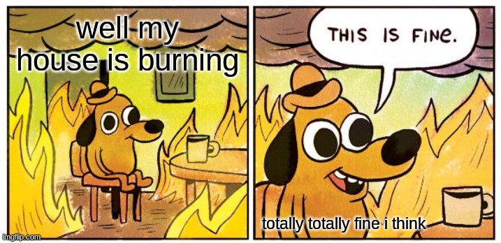 totally totally fine |  well my house is burning; totally totally fine i think | image tagged in memes,this is fine | made w/ Imgflip meme maker