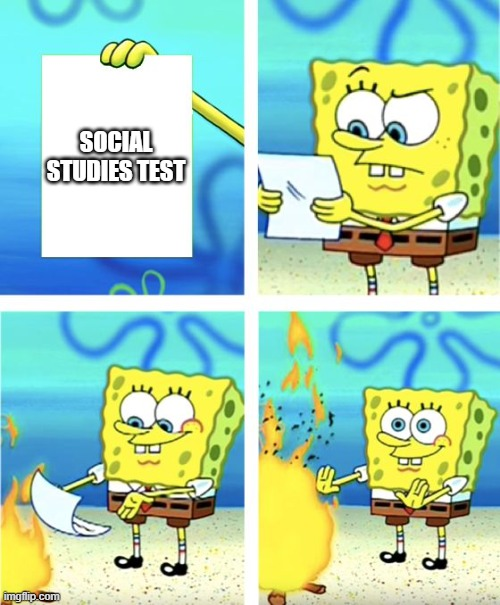 Spongebob Burning Paper |  SOCIAL STUDIES TEST | image tagged in spongebob burning paper | made w/ Imgflip meme maker