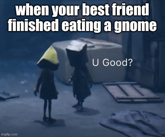 when your best fiend finished eating a gnome |  when your best friend finished eating a gnome | image tagged in mono u good | made w/ Imgflip meme maker
