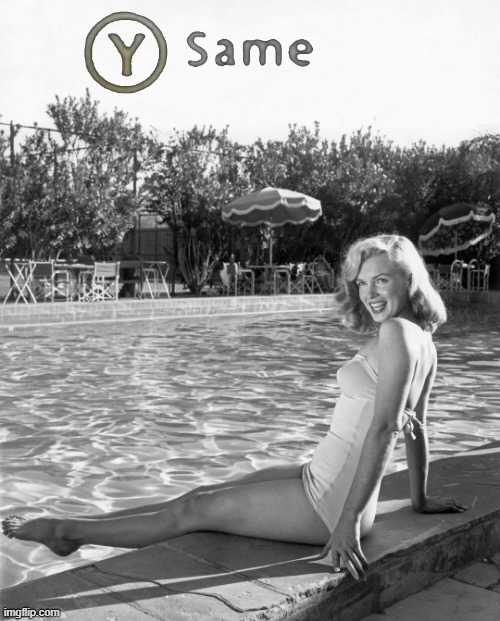 Y Same Marilyn Monroe | image tagged in y same marilyn monroe,same,black and white,marilyn monroe,swimming pool,pool | made w/ Imgflip meme maker