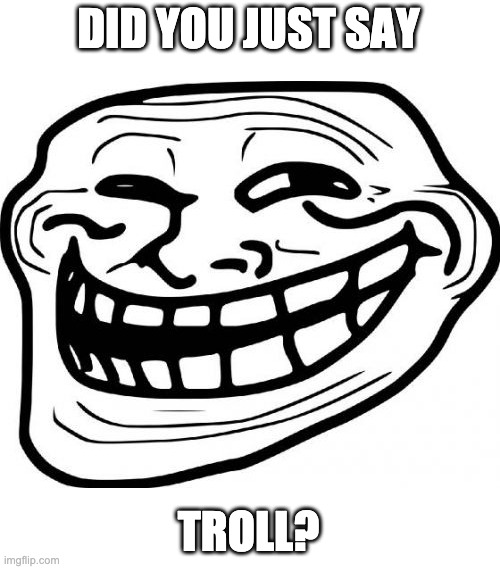 DID YOU JUST SAY TROLL? | image tagged in memes,troll face | made w/ Imgflip meme maker