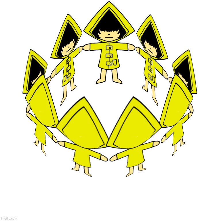 The Cult Of Six | image tagged in the cult of six,cursed image,little nightmares,drawings,art | made w/ Imgflip meme maker