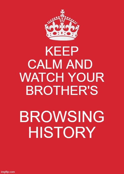 Keep Calm And Carry On Red |  KEEP CALM AND  WATCH YOUR BROTHER'S; BROWSING HISTORY | image tagged in memes,keep calm and carry on red | made w/ Imgflip meme maker