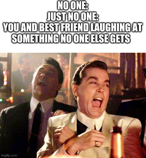 this is so true |  NO ONE: JUST NO ONE: YOU AND BEST FRIEND LAUGHING AT SOMETHING NO ONE ELSE GETS | image tagged in memes,good fellas hilarious | made w/ Imgflip meme maker