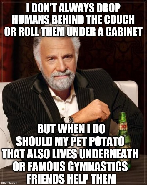 My absurd sense of humour gets the best of me again. |  I DON'T ALWAYS DROP HUMANS BEHIND THE COUCH OR ROLL THEM UNDER A CABINET; BUT WHEN I DO SHOULD MY PET POTATO  THAT ALSO LIVES UNDERNEATH  OR FAMOUS GYMNASTICS  FRIENDS HELP THEM | image tagged in memes,the most interesting man in the world | made w/ Imgflip meme maker