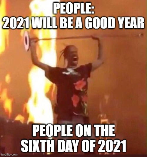 Travis Scott  |  PEOPLE: 2021 WILL BE A GOOD YEAR; PEOPLE ON THE SIXTH DAY OF 2021 | image tagged in travis scott | made w/ Imgflip meme maker