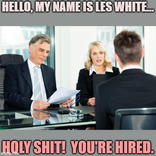 job interview |  HELLO, MY NAME IS LES WHITE... HOLY SHIT!  YOU'RE HIRED. | image tagged in job interview | made w/ Imgflip meme maker