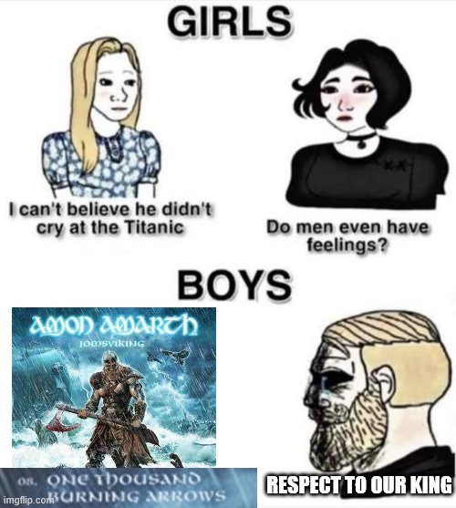 Do men even have feelings |  RESPECT TO OUR KING | image tagged in do men even have feelings | made w/ Imgflip meme maker