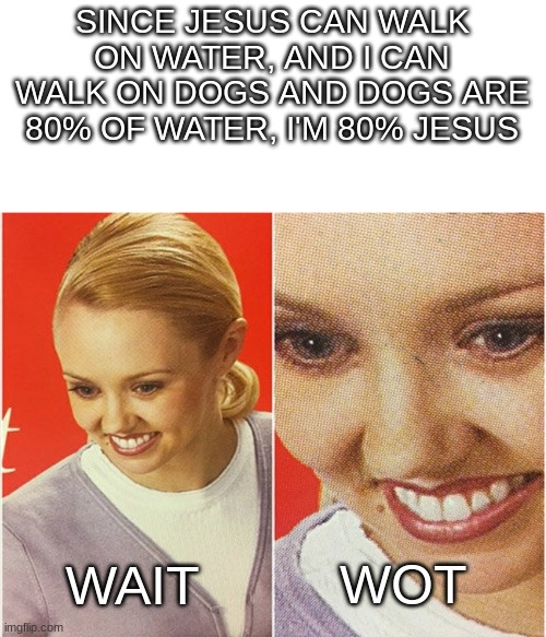 Im back yay! |  SINCE JESUS CAN WALK ON WATER, AND I CAN WALK ON DOGS AND DOGS ARE 80% OF WATER, I'M 80% JESUS; WAIT; WOT | image tagged in wait what,dogs,jesus christ,one percent | made w/ Imgflip meme maker