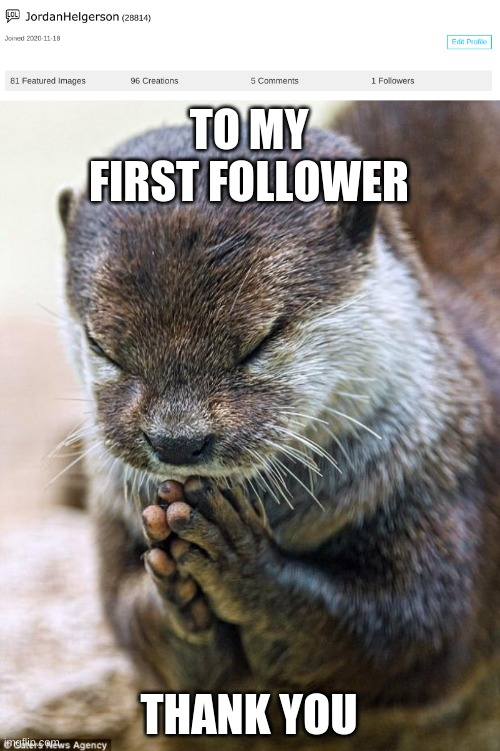 thank you so much |  TO MY FIRST FOLLOWER; THANK YOU | image tagged in thank you lord otter | made w/ Imgflip meme maker