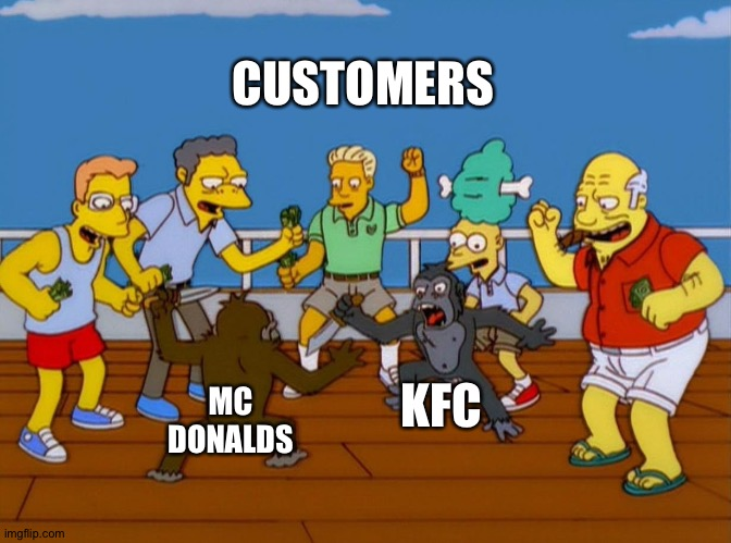 Simpsons Monkey Fight |  CUSTOMERS; KFC; MC DONALDS | image tagged in simpsons monkey fight | made w/ Imgflip meme maker