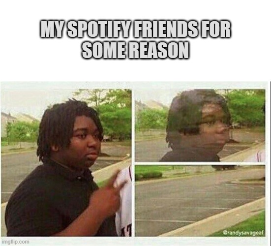 Why- |  MY SPOTIFY FRIENDS FOR SOME REASON | image tagged in blank white template,black guy disappearing,spotify,relatable,why,please help me | made w/ Imgflip meme maker