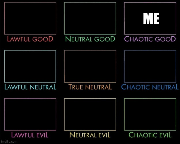 D&D alignment chart but put yourself in the alignment that suits you every time you repost |  ME | image tagged in alignment chart | made w/ Imgflip meme maker