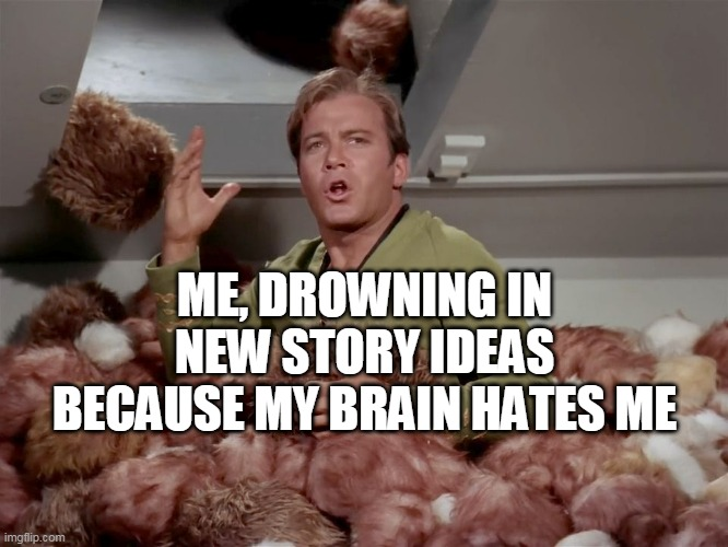 Help my brain wants to kill me |  ME, DROWNING IN NEW STORY IDEAS BECAUSE MY BRAIN HATES ME | image tagged in star trek kirk tribbles | made w/ Imgflip meme maker