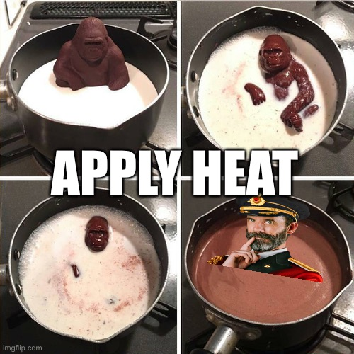 chocolate gorilla | APPLY HEAT | image tagged in chocolate gorilla | made w/ Imgflip meme maker