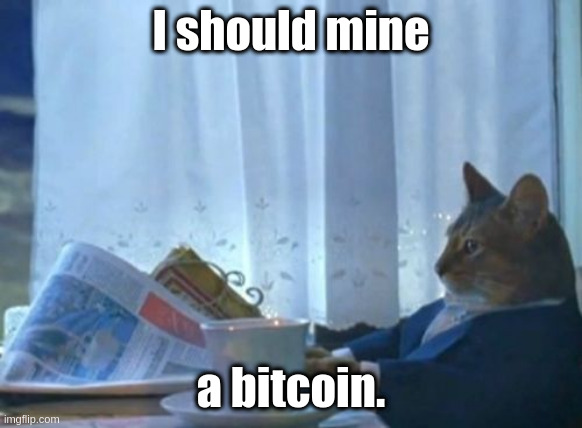 When the spend limit on an AWS account is too high: I should mine a bitcoin |  I should mine; a bitcoin. | image tagged in memes,i should buy a boat cat,btc,mmf | made w/ Imgflip meme maker
