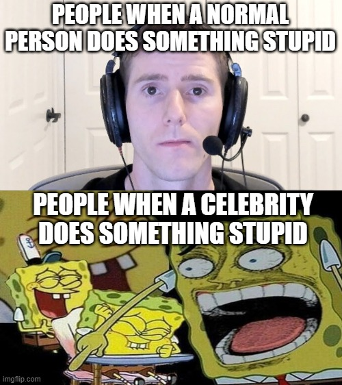 hashtag something idk |  PEOPLE WHEN A NORMAL PERSON DOES SOMETHING STUPID; PEOPLE WHEN A CELEBRITY DOES SOMETHING STUPID | image tagged in gamer guy | made w/ Imgflip meme maker