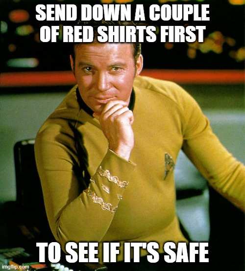 send down a red shirt |  SEND DOWN A COUPLE OF RED SHIRTS FIRST; TO SEE IF IT'S SAFE | image tagged in captain kirk | made w/ Imgflip meme maker