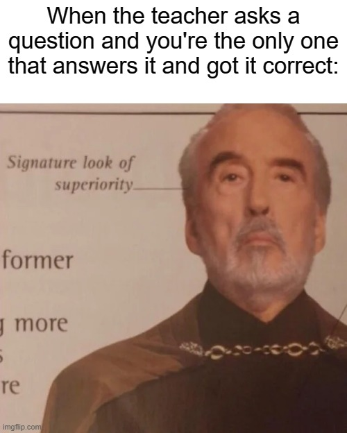 based on a true story (first one had a typo so i deleted it) |  When the teacher asks a question and you're the only one that answers it and got it correct: | image tagged in signature look of superiority | made w/ Imgflip meme maker