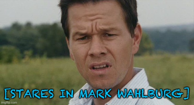 [STARES IN MARK WAHLBURG] | image tagged in mark wahlburg confused | made w/ Imgflip meme maker