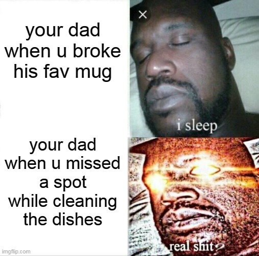 real sh** |  your dad when u broke his fav mug; your dad when u missed a spot while cleaning the dishes | image tagged in memes,sleeping shaq | made w/ Imgflip meme maker