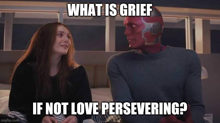 Having lost a dear relative a few months ago, this line really spoke to me. |  WHAT IS GRIEF; IF NOT LOVE PERSEVERING? | image tagged in wandavision | made w/ Imgflip meme maker