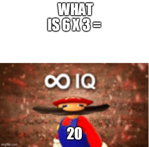 Infinite IQ |  WHAT IS 6 X 3 =; 20 | image tagged in infinite iq | made w/ Imgflip meme maker