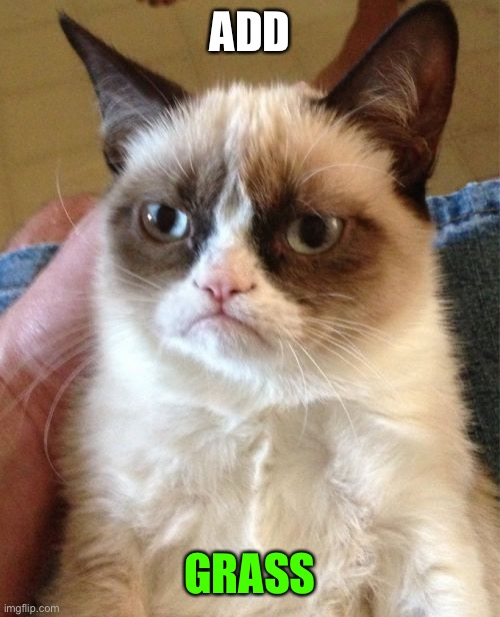 ADD GRASS | image tagged in memes,grumpy cat | made w/ Imgflip meme maker