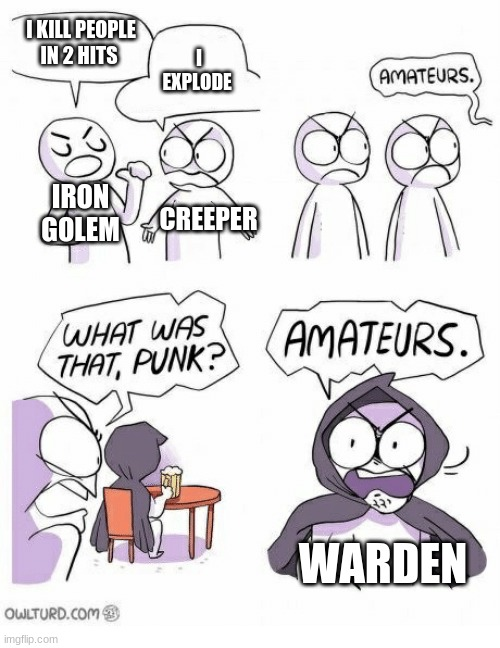Amateurs |  I KILL PEOPLE IN 2 HITS; I EXPLODE; IRON GOLEM; CREEPER; WARDEN | image tagged in amateurs | made w/ Imgflip meme maker