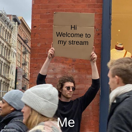 Hi |  Hi Welcome to my stream; Me | image tagged in memes,guy holding cardboard sign | made w/ Imgflip meme maker