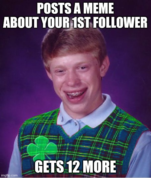 good luck brian | POSTS A MEME ABOUT YOUR 1ST FOLLOWER GETS 12 MORE | image tagged in good luck brian | made w/ Imgflip meme maker