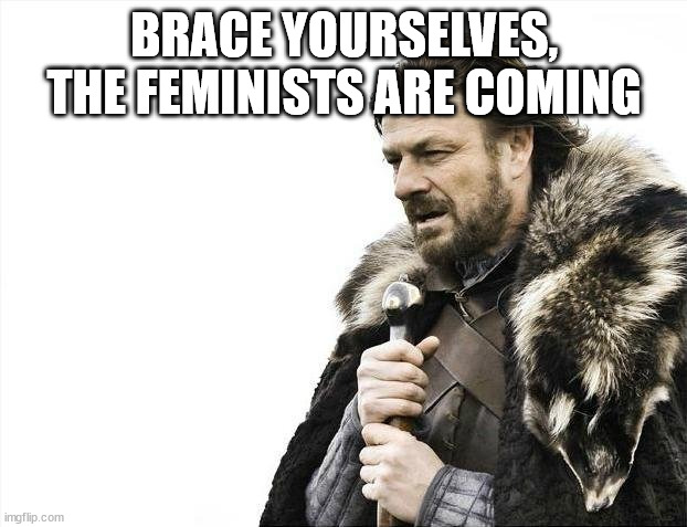 BRACE YOURSELVES, THE FEMINISTS ARE COMING | image tagged in memes,brace yourselves x is coming | made w/ Imgflip meme maker